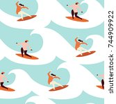 surfer girl surfing in the... | Shutterstock .eps vector #744909922