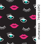 seamless pattern with mouth and ... | Shutterstock .eps vector #744911092