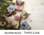 holiday gifts | Shutterstock . vector #744911146