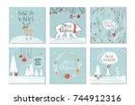 set of 6 cute christmas gift...   Shutterstock .eps vector #744912316