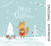cute christmas gift card with... | Shutterstock .eps vector #744912562