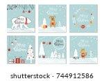 set of 6 cute christmas gift... | Shutterstock .eps vector #744912586