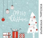 cute christmas gift card with... | Shutterstock .eps vector #744912616
