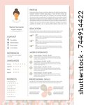 feminine resume with... | Shutterstock .eps vector #744914422