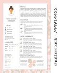 feminine resume with... | Shutterstock .eps vector #744914422