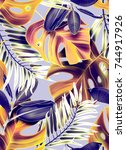 tropical palm leaves. seamless... | Shutterstock . vector #744917926