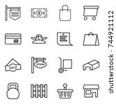 thin line icon set   shop... | Shutterstock .eps vector #744921112