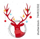 christmas deer with wreath | Shutterstock .eps vector #744921532