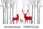 red christmas deer with birch... | Shutterstock .eps vector #744922126