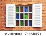 open window on brick wall. | Shutterstock . vector #744925936