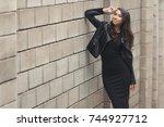 portrait of beautiful smiling... | Shutterstock . vector #744927712