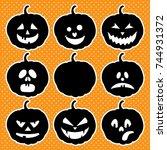 halloween set with pumpkins | Shutterstock .eps vector #744931372