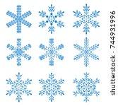 snowflake winter design season...   Shutterstock .eps vector #744931996