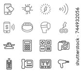 thin line icon set   touch ... | Shutterstock .eps vector #744932056