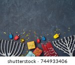 hanukkah background with... | Shutterstock . vector #744933406