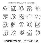 human resources  bold line... | Shutterstock .eps vector #744934855