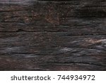 surface of timber. old wooden... | Shutterstock . vector #744934972