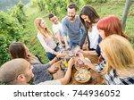 young friends having fun... | Shutterstock . vector #744936052