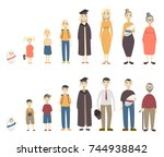life stages set. man and woman... | Shutterstock .eps vector #744938842