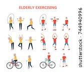 exercises for elderly. set of... | Shutterstock .eps vector #744940996