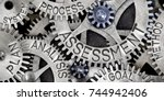 Small photo of Macro photo of tooth wheel mechanism with ASSESSMENT, PLAN, ANALYSIS, PROCESS, GOAL, METHOD and SYSTEM words imprinted on metal surface