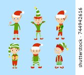 christmas elves set. funny... | Shutterstock .eps vector #744942616