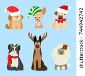 christmas dogs set. funny... | Shutterstock .eps vector #744942742