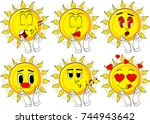 cartoon sun with clapping hands.... | Shutterstock .eps vector #744943642