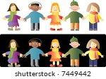 vector kids on white and black... | Shutterstock .eps vector #7449442