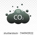 co2 emissions icon cloud vector ... | Shutterstock .eps vector #744945922