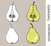 isolated pears. graphic... | Shutterstock .eps vector #744946855