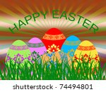 background with  easter eggs in ... | Shutterstock .eps vector #74494801