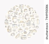 hand drawn doodle baggage icons ... | Shutterstock .eps vector #744950086