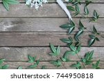 rustic winter or christmas... | Shutterstock . vector #744950818
