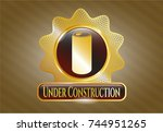 gold shiny emblem with soda... | Shutterstock .eps vector #744951265