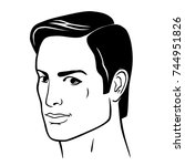 man hairstyle head  front  ... | Shutterstock . vector #744951826