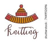 knitting icon vector knitted...   Shutterstock .eps vector #744952096