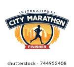 modern urban marathon badge...   Shutterstock .eps vector #744952408