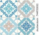 portuguese tiles  quatrefoil... | Shutterstock .eps vector #744953032