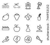 thin line icon set   bio  eco... | Shutterstock .eps vector #744953152