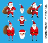 set of pixel santa claus... | Shutterstock .eps vector #744954736