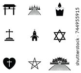 religions icon set | Shutterstock .eps vector #744955915