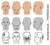 man hairstyle head set  front ... | Shutterstock . vector #744960166