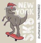 dinosaur riding on skateboard.... | Shutterstock .eps vector #744960802