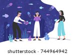 three people wearing virtual... | Shutterstock .eps vector #744964942