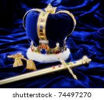 Beautiful Crown And Sword On...