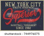 vintage varsity graphics and... | Shutterstock .eps vector #744976075