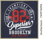 vintage varsity graphics and... | Shutterstock .eps vector #744976096