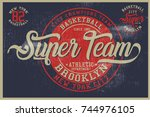 vintage varsity graphics and... | Shutterstock .eps vector #744976105
