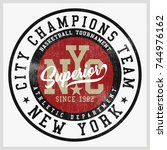 vintage varsity graphics and... | Shutterstock .eps vector #744976162